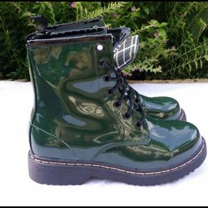 Green Patent Vegan Leather 8 Eyelet Lace up Boots